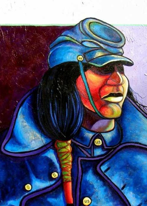 Native American Greeting Card featuring the painting Trooper Crow-Horse by Joe Triano
