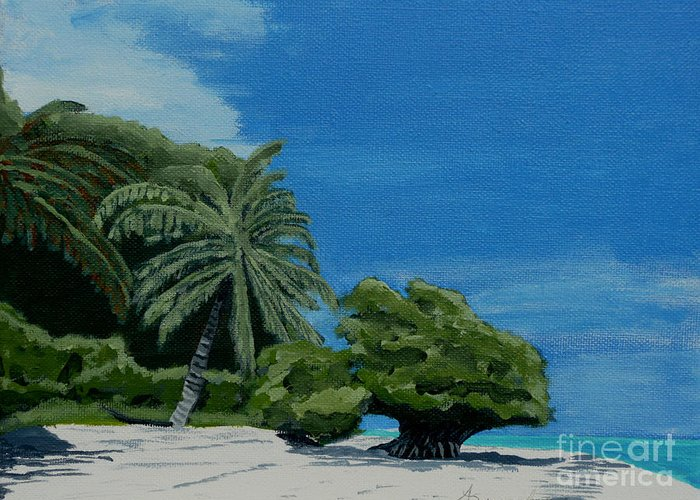 Beach Greeting Card featuring the painting Tropical Beach by Anthony Dunphy
