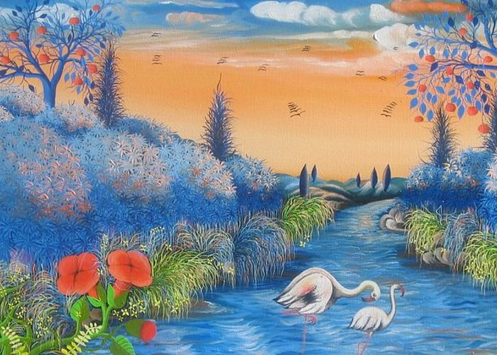 Landscape Greeting Card featuring the painting tropical beauty #2 By Frantz Petion by Frantz Petion