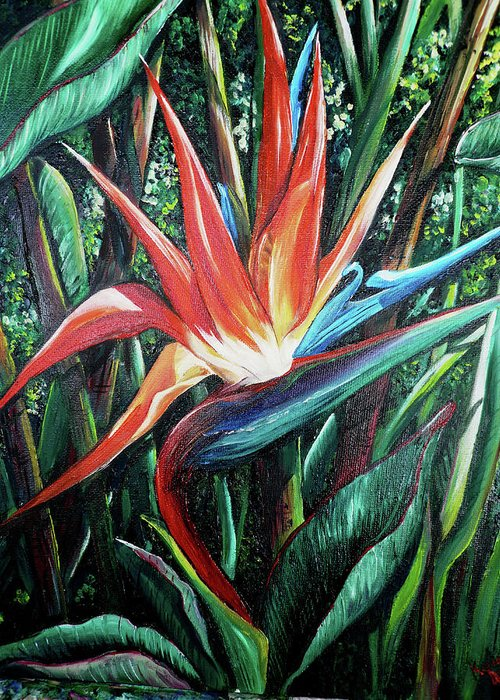 Floral Greeting Card featuring the painting Tropical Bird by Karin Dawn Kelshall- Best