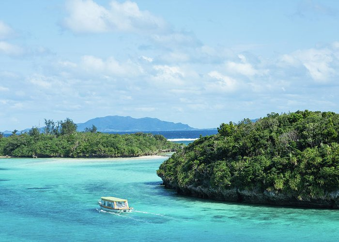 Outdoors Greeting Card featuring the photograph Tropical Blue Lagoon And Lush Rock by Ippei Naoi