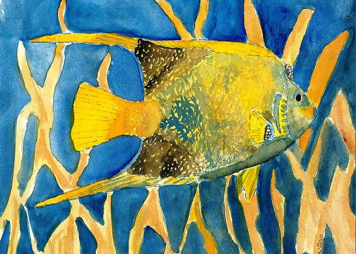 Tropical Greeting Card featuring the painting Tropical Fish Art Print by Derek Mccrea