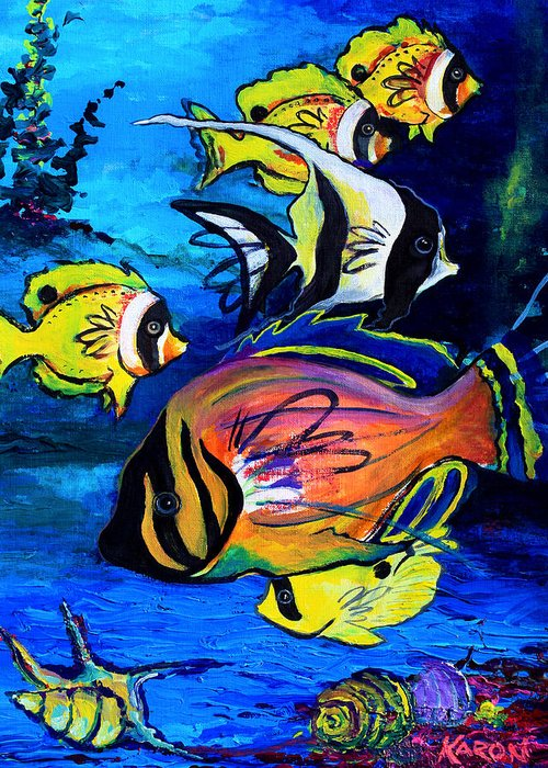 Tropical Art Greeting Card featuring the painting Tropical Fish by Karon Melillo DeVega