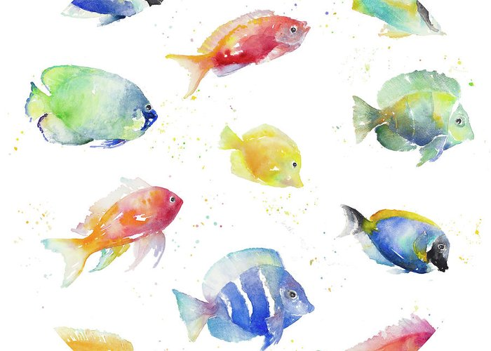 Tropical Greeting Card featuring the painting Tropical Fish Round by Lanie Loreth