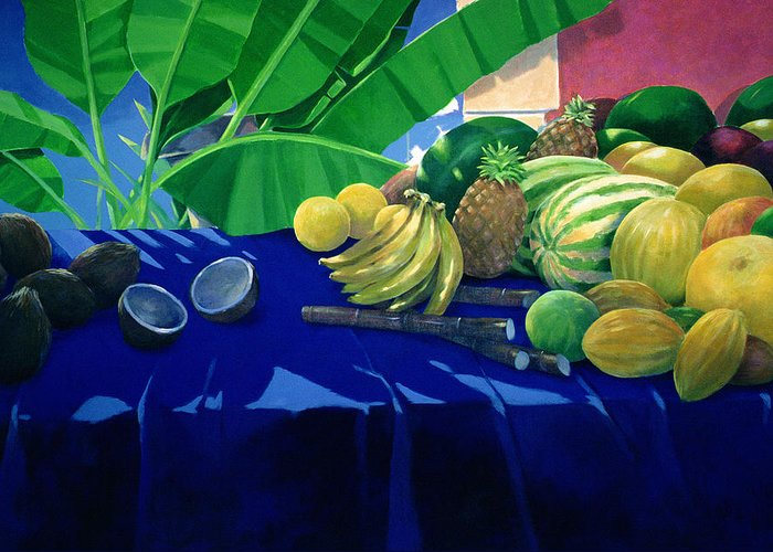 Still Life Greeting Card featuring the painting Tropical Fruit by Lincoln Seligman