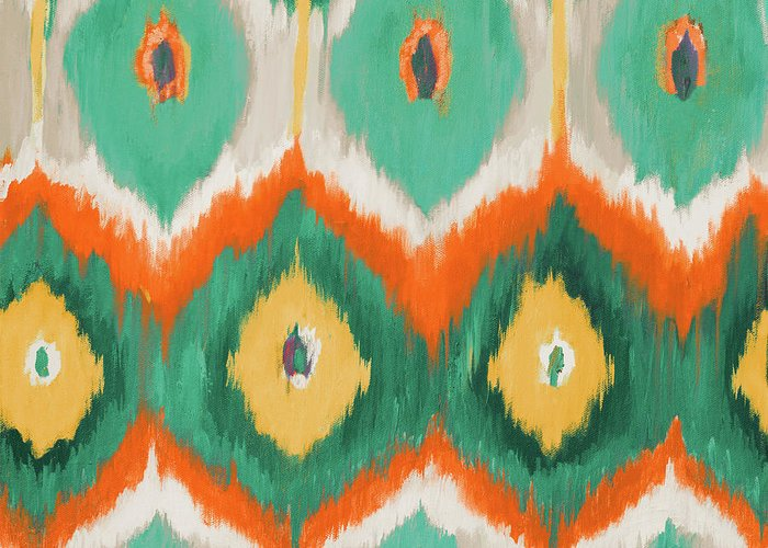 Tropical Greeting Card featuring the painting Tropical Ikat II by Patricia Pinto