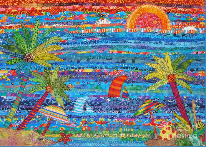 Tropical Landscape Greeting Card featuring the painting Tropical Moments by Susan Rienzo