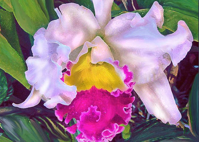 Orchid Greeting Card featuring the digital art Tropical Orchid by Jane Schnetlage