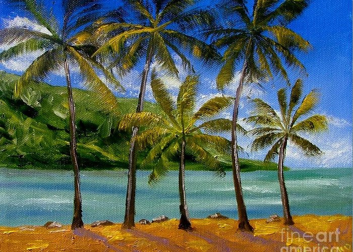 Summer Greeting Card featuring the painting Tropical Paradize by Inna Montano
