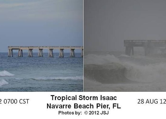Difference Greeting Card featuring the photograph Tropical Storm Isaac Difference In A Day by Jeff at JSJ Photography