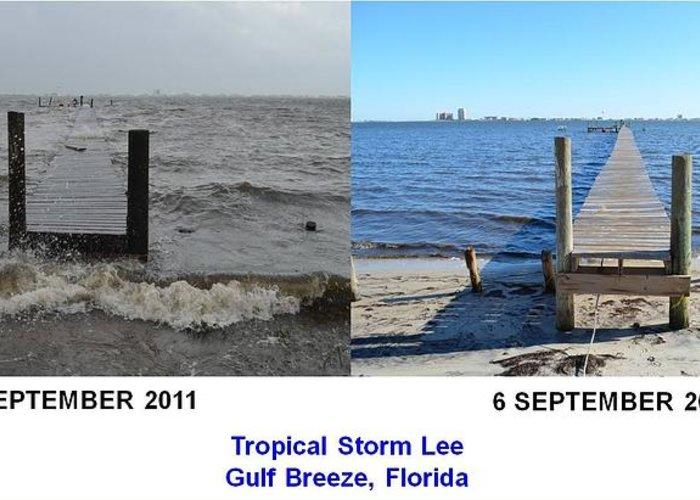 Difference Greeting Card featuring the photograph Tropical Storm Lee Difference A Day Makes by Jeff at JSJ Photography