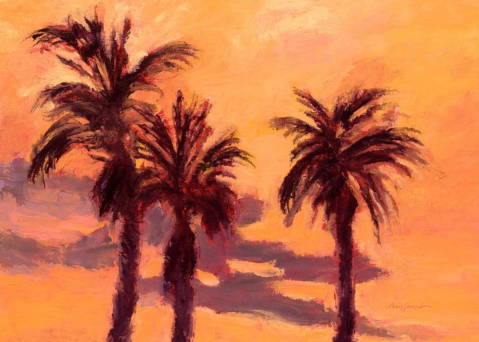Tropical Trees Greeting Card featuring the painting Tropical Trees by J Reifsnyder