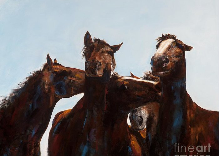 Horses Greeting Card featuring the painting Trouble Makers by Frances Marino