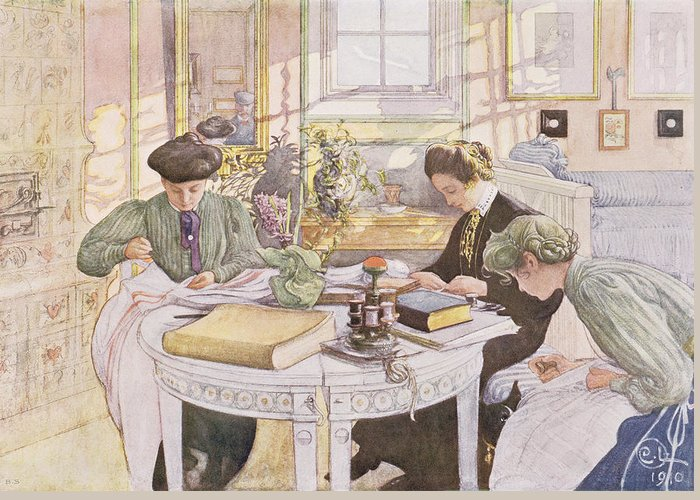 Outfit Greeting Card featuring the painting Trousseau, Pub. In Lasst Licht Hinin by Carl Larsson