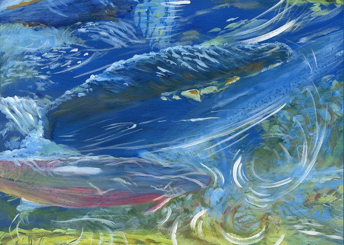 Trout Greeting Card featuring the painting Trout Swirls by Robert Boyd