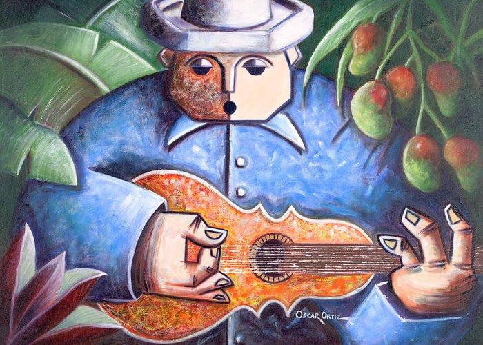 Puerto Rico Greeting Card featuring the painting Trovador de mango bajito by Oscar Ortiz