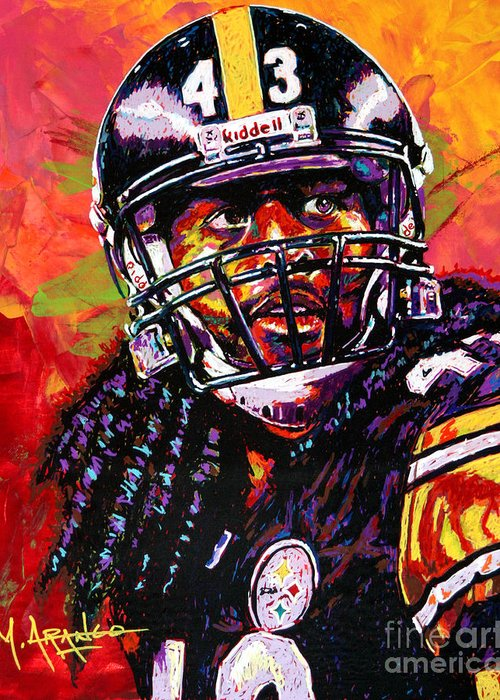 Troy Greeting Card featuring the painting Troy Polamalu by Maria Arango