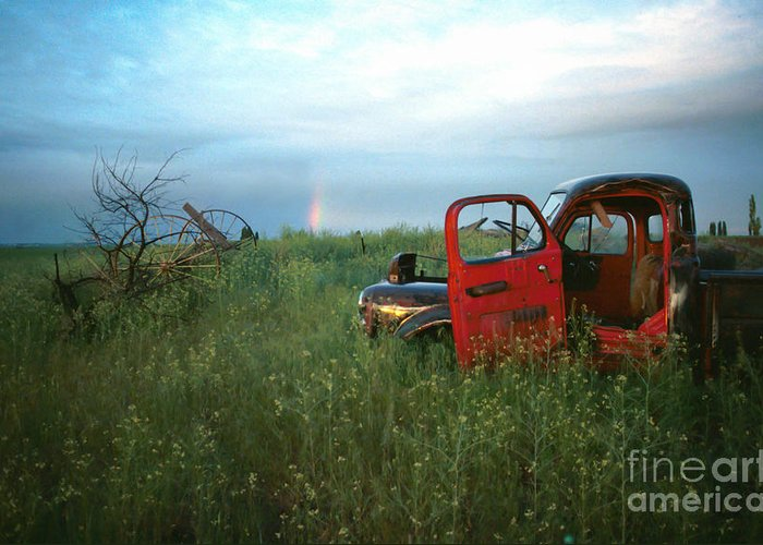 Nostalgia Greeting Card featuring the photograph Truck And Rainbow by Jeff K Floyd