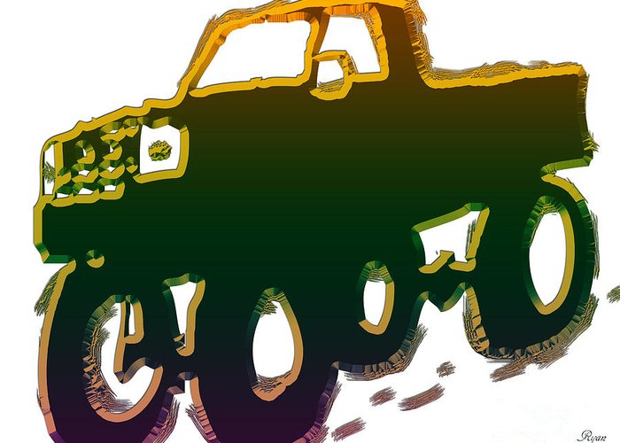 Abstract Greeting Card featuring the digital art Truck by Dalon Ryan