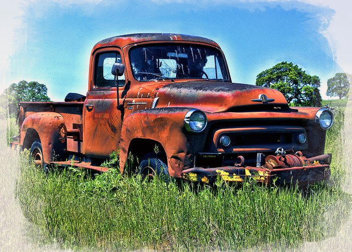 Truck Greeting Card featuring the photograph Truck In The Grass by William Havle