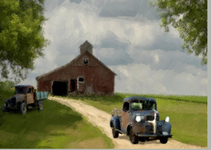 Landscape Greeting Card featuring the painting Trucks And Barn by Jack Zulli