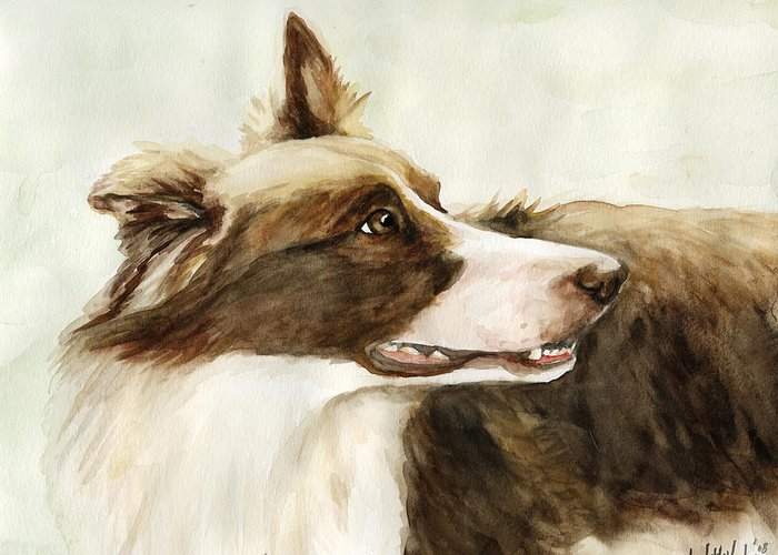 Border Collie Greeting Card featuring the painting True Devotion by Charlotte Yealey