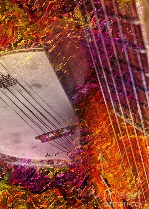 Acoustic Greeting Card featuring the photograph Truly Southern Digital Banjo And Guitar Art By Steven Langston by Steven Lebron Langston