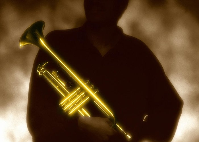 Jazz Greeting Card featuring the photograph Man Holding Trumpet 1 by Tony Cordoza