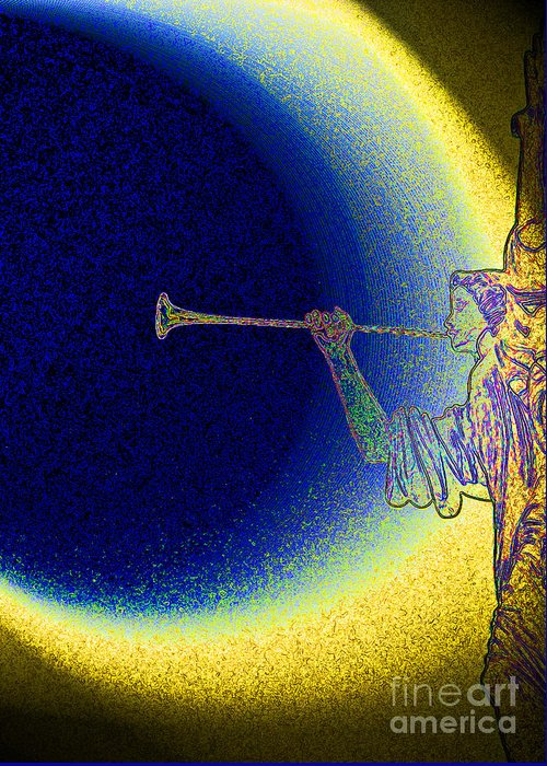 First Star Art Greeting Card featuring the photograph Trumpet Moon by First Star Art