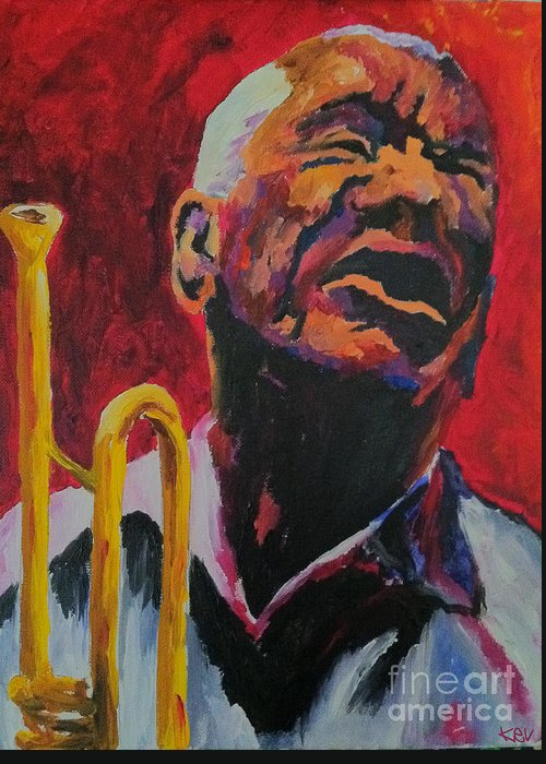 Jazz Greeting Card featuring the painting Trumpeter Shades Of Red by Kevin Rogerson