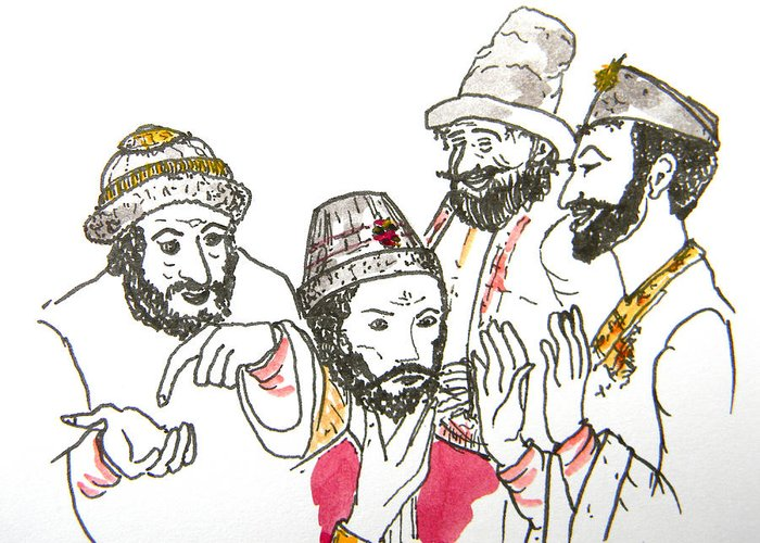Maiden Wiser Than The Tsar Greeting Card featuring the drawing Tsar And Courtiers by Marwan George Khoury