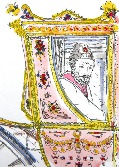 Maiden Wiser Than The Tsar Greeting Card featuring the drawing Tsar In Carriage by Marwan George Khoury