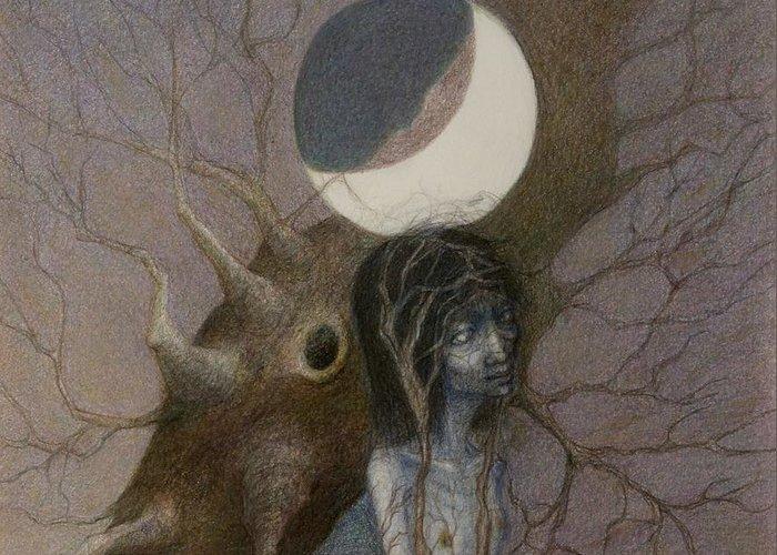 Moon Greeting Card featuring the drawing Tsuki No Ne by Chiyuky Itoga