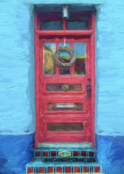 Arizona Greeting Card featuring the mixed media Tucson Barrio Red Door Painterly Effect by Carol Leigh