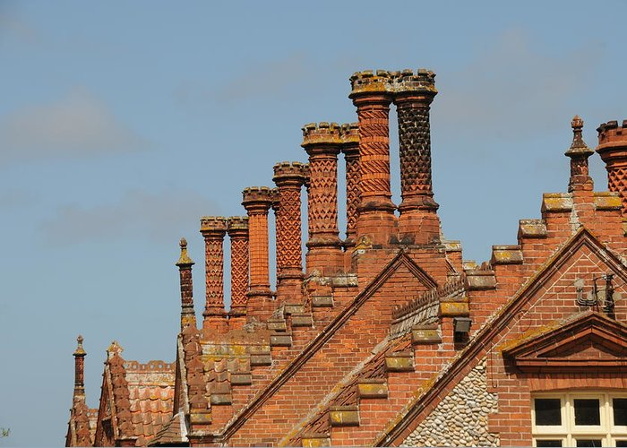 Brickwork Greeting Card featuring the photograph Tudor Chimney Pots by Rebecca Cox