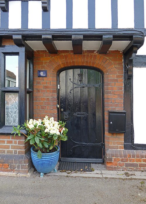 Front Door Greeting Card featuring the photograph Tudor Cottage Doorway by Gill Billington