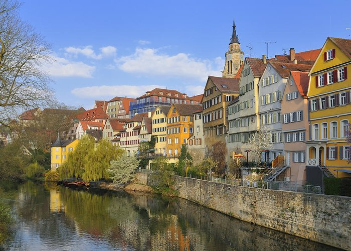 Tuebingen Greeting Card featuring the photograph Tuebingen Neckarfront With Beautiful Old Houses by Matthias Hauser