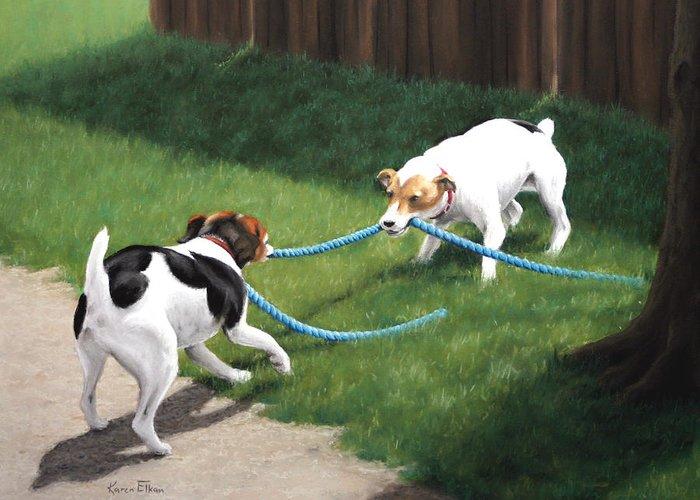 Jack Russel Terriers Playing Greeting Card featuring the pastel Tug-o-war by Karen Elkan