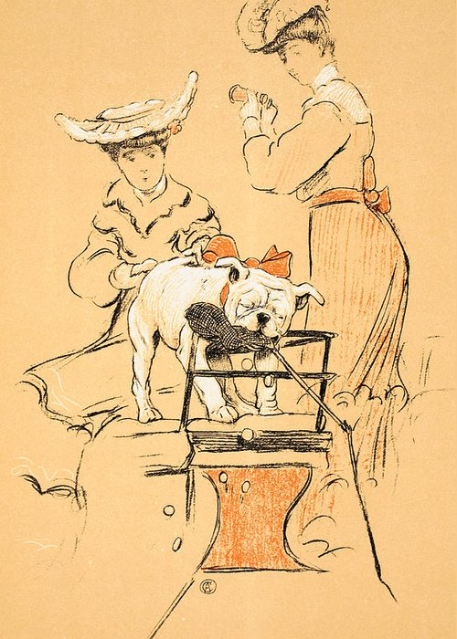 Aldin Greeting Card featuring the painting Tug Of War by Cecil Charles Windsor Aldin