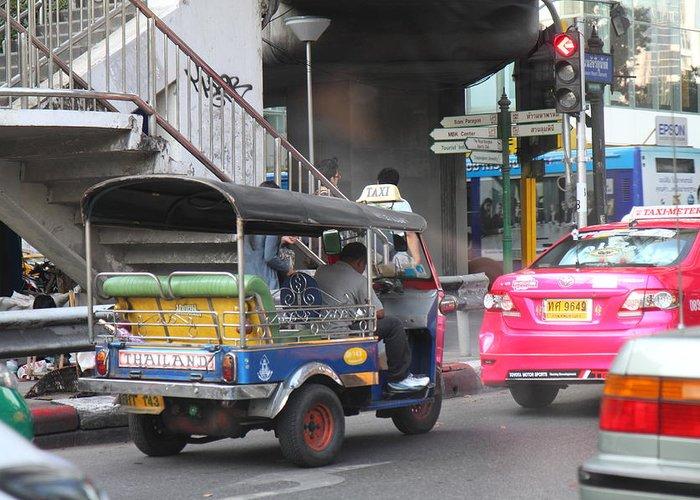 Bangkok Greeting Card featuring the photograph Tuk Tuk - City Life - Bangkok Thailand - 01131 by DC Photographer