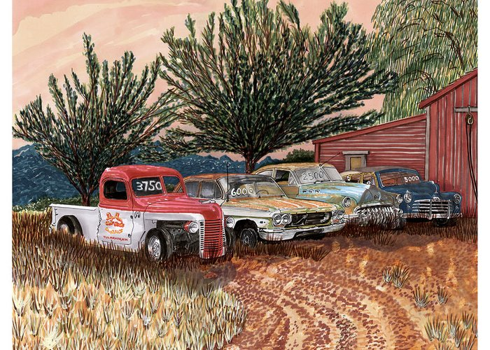 Classic Car Art Greeting Card featuring the painting Tularosa Motors by Jack Pumphrey