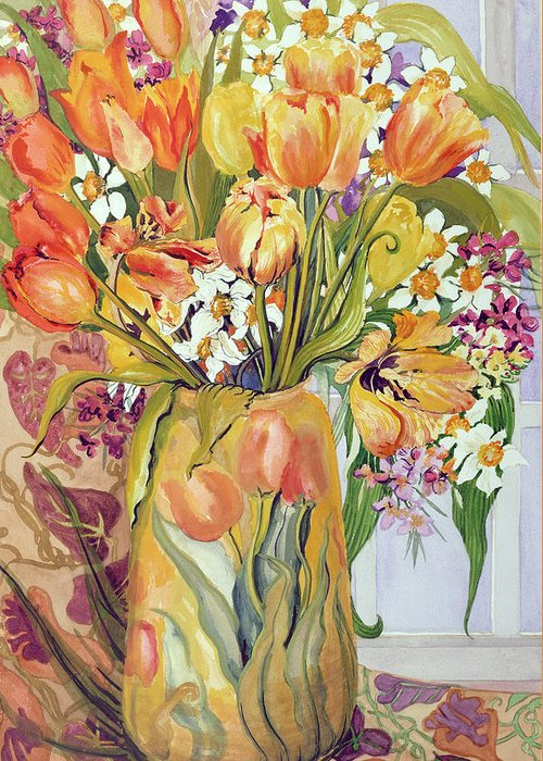 Spring Greeting Card featuring the painting Tulips And Narcissi In An Art Nouveau Vase by Joan Thewsey