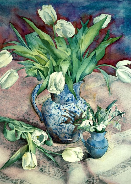 Julia Rowntree Greeting Card featuring the photograph Tulips And Snowdrops by Julia Rowntree