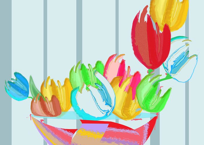 Stylized Tulips Greeting Card featuring the mixed media Tulips In A Bowl by Gail Cramer