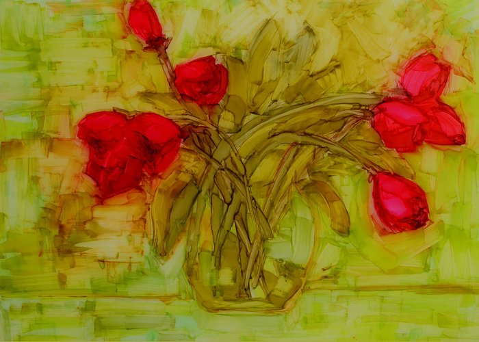 Art Greeting Card featuring the painting Tulips In A Glass Vase by Patricia Awapara