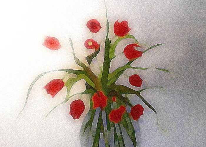 Tulips Greeting Card featuring the digital art Tulips In Glass Vase by Lisa Purcell