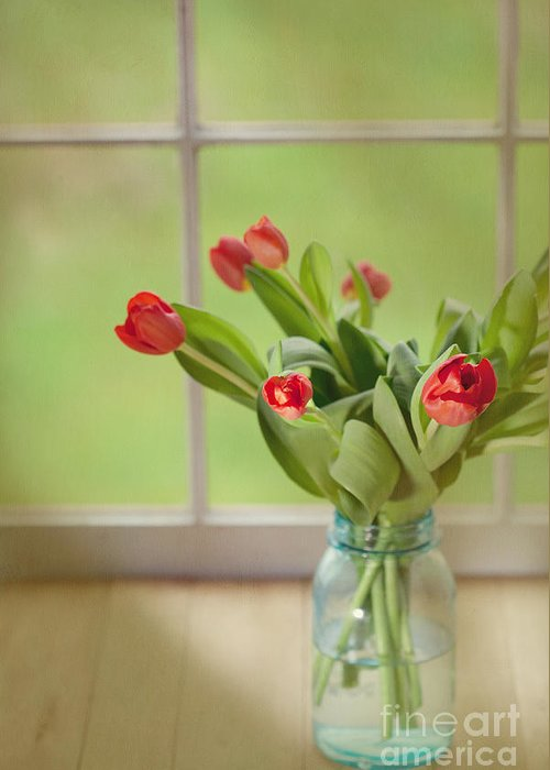 Tulips Greeting Card featuring the photograph Tulips In Mason Jar by Kay Pickens