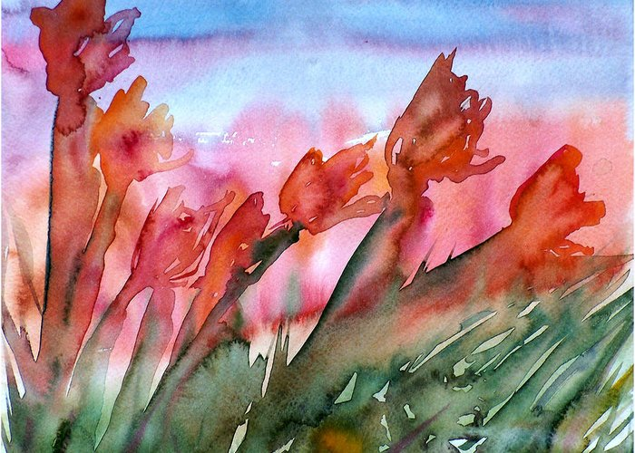 Flower Greeting Card featuring the painting Tulips In The Wind by Jodi Forster