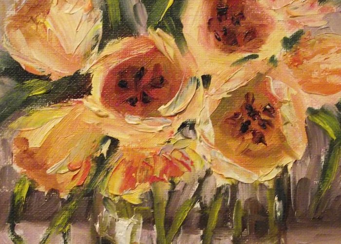 Tulips Greeting Card featuring the painting Tulips In Yellow By Alabama Artist Angela Sullivan by Angela Sullivan