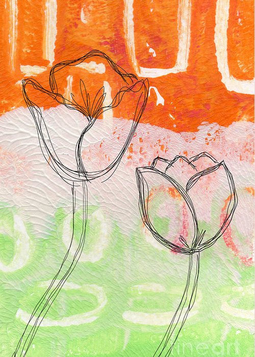 Abstract Greeting Card featuring the mixed media Tulips by Linda Woods